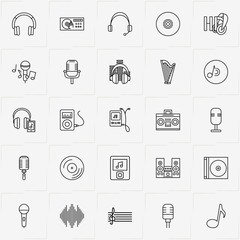 Audio line icon set with music note, music center and microphone