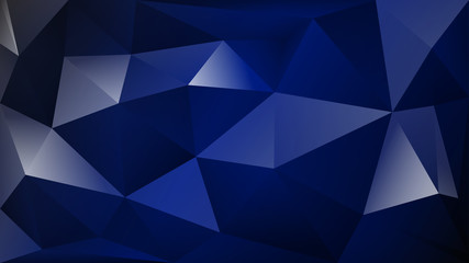 Abstract polygonal background of many triangles in dark blue colors