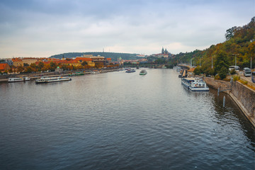 The central part of the city of Prague and the Vltava River