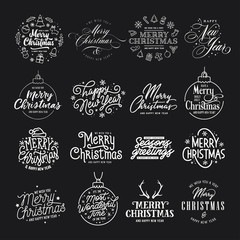 Merry Christmas and Happy New Year typography set. Vector vintage illustration.