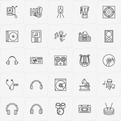 Audio line icon set with harp, cassette player and microphone