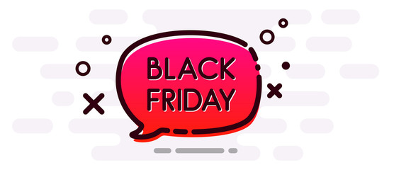 Black friday sale. Promo banner with red speech bubble.