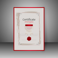 Certificate of Participation best award template design with space of your text.