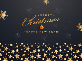 Merry Christmas and Happy New Year poster or template design decorated with stars, snowflakes and baubles for celebration concept.