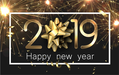 Happy New Year 2019 card with gold serpentine and firework.