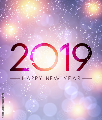 lilac shiny 2019 happy new year greeting card