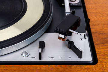 Close up of vintage turntable vinyl record playe