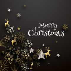 Merry Christmas greeting card design decorated with festival ornaments.