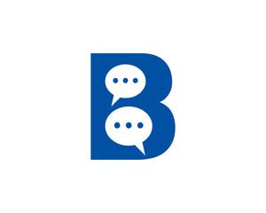 Letter B speech bubble logo icon design template elements