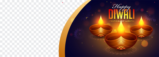 Website header or banner design with realistic illuminated oil lamps on floral blue background with space for your product image.