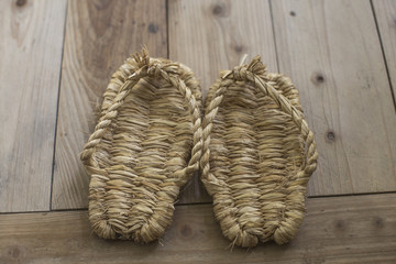 Japanese traditional straw sandals called Waraji in Japanese