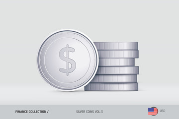 Silver coins. Realistic United States Dollar coin standing near of stacked coins. Finance concept for websites, web design, mobile app, infographics.