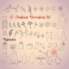 Christmas decoration set with Nutcracker. Vector Illustration