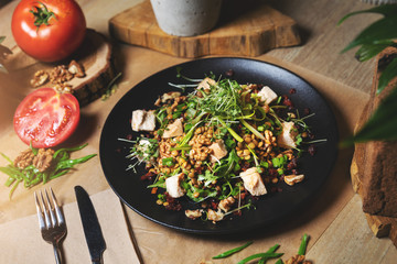 chicken and lentil salad with walnuts