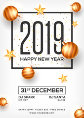 Top View of 2019 Happy New Year Party template design decorated with baubles and stars for celebration concept.
