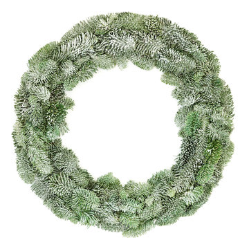 Spruce fir winter wreath with snow isolated on white background.