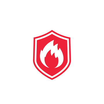 Fire protection icon with shield and flame