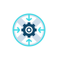 Integration process, technology, vector round icon with cogwheel