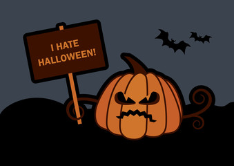 Angry pumkin vector illustration. I hate halloween. Halloween pumpkin vector. Halloween dark background