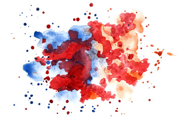 Watercolor multicolored splashes on white background