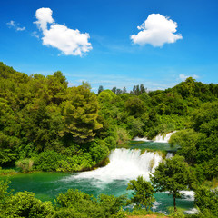 Waterfall In Krka National Park, Dalmatia Croatia, Europe.