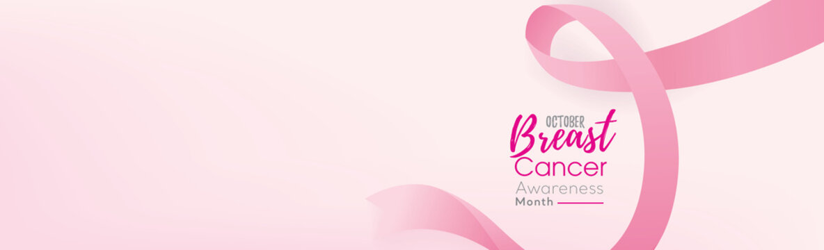 Breast cancer awareness campaign banner background with pink ribbon