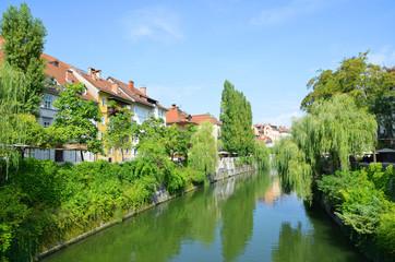 River Ljubljanica in city of Ljubljana. Slovenia,Europe.