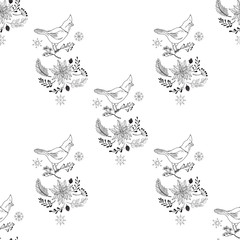 Seamless Pattern Christmas Decoration with Bird