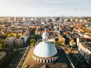 Obraz Katowice Katedra z powietrza - fototapety do salonu