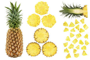 Close-up natural fresh fruit of cutted and sliced pineapple, isolated on white background with clipping path