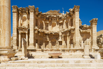 Ruins of the Nymphaeum in the Roman city of Gerasa (modern Jerash) in Jordan..