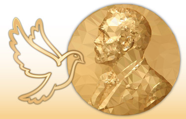 Nobel Peace award, gold polygonal medal and dove symbol