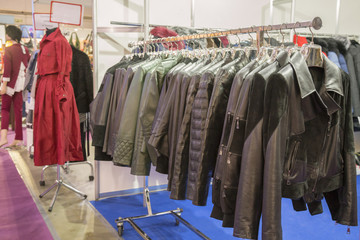 Leather jackets on the hangers at the store. Various leather jackets on the hangers at the store