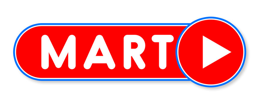 Mart - white text written on a red banner on white background