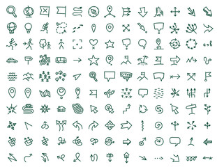 Hand draw map icons set travel geography and directions