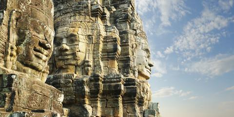 carved faces at Angkor wat temple, bayon,Cambodia Wall mural