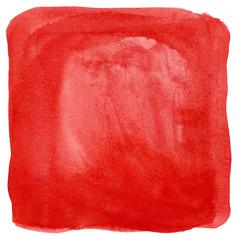 Rotes Quadrat als Wasserfarbe Hintergrund