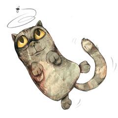 Niedliche Katze springt auf der Jagd nach Fliege