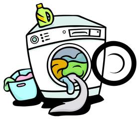 Schwanz von Katze in Waschmaschine