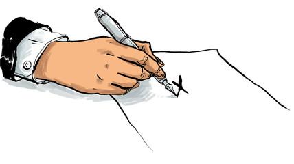 Hand macht ein Kreuz auf einem Dokument
