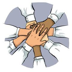 Multikulturelles Business Team stapelt Hände
