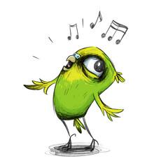 Niedlicher Wellensittich singt eine Melodie