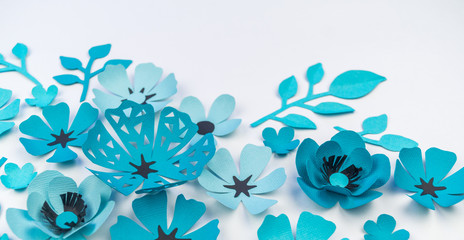 Flower and leaf of blue color made of paper