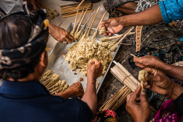 Balinese traditional food cooking. Bali island.