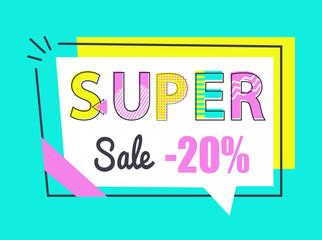 Super Sale 20 Off Sticker in Rectangular Frame