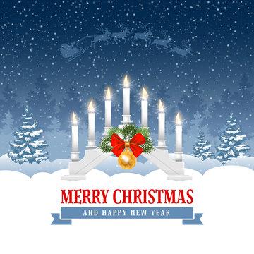 Christmas greeting with candle  lights bridge
