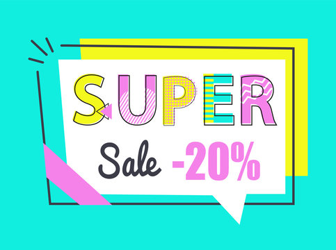 Super Sale 20 Off Sticker in Rectangular Frame