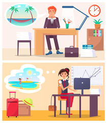 Office Workers Dream about Travel to Hot Country