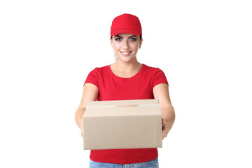 Delivery woman with cardboard box on white background