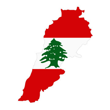 Map country wilh flag of Lebanon